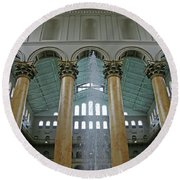 Inside The National Building Museum Round Beach Towel