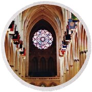 Inside The National Cathedral Round Beach Towel