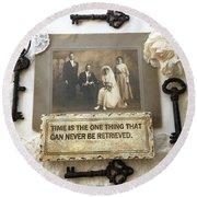 Inspirational Art - Vintage Wedding Photo With Antique Keys - Inspirational Vintage Black Keys Art  Round Beach Towel
