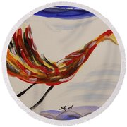 Inspired By Calder's Only Only Bird Round Beach Towel