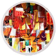 Inspired By Picasso Round Beach Towel
