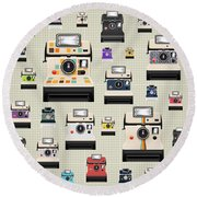 Instant Camera Pattern Round Beach Towel