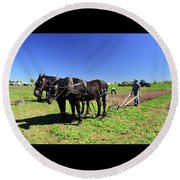 Instructing The Horses Two  Round Beach Towel