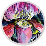 Intensely Orchid Round Beach Towel