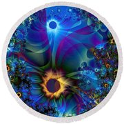Inter-dimensional Daisies Round Beach Towel