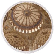 Inter Domes Of Sultan Ahmed Mosque Round Beach Towel