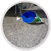 Interior Blue Round Beach Towel