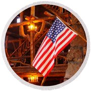 Interior Of Old Faithful Inn Round Beach Towel