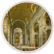 Interior Of St. Peter's - Rome Round Beach Towel