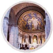 Interior Sacre Coeur Basilica Paris France Round Beach Towel