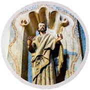 Interior Statue - San Xavier Mission - Tucson Arizona Round Beach Towel