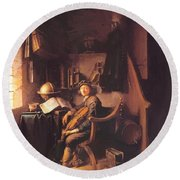 Interior With A Young Violinist 1637 Round Beach Towel
