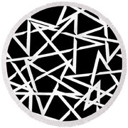 Interlocking White Star Polygon Shape Design Round Beach Towel