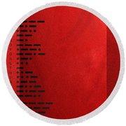 International Morse Code - Black On Red Round Beach Towel