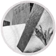 Intersection 1 Bw Las Vegas Round Beach Towel