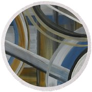 Intersection In Blue 2 Round Beach Towel