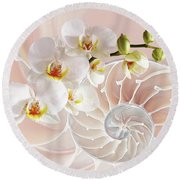 Intimate Fusion In Soft Pink Round Beach Towel
