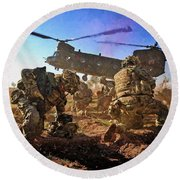 Into Battle - Painting Round Beach Towel