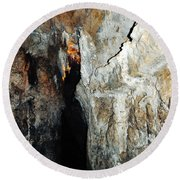 Into Crystal Cave Round Beach Towel