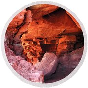 Into The Cave Round Beach Towel