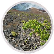 Into The Crater Round Beach Towel