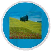 Into The Cypress Land Round Beach Towel