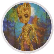 Into The Eyes Of Baby Groot Round Beach Towel