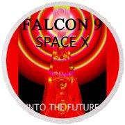 Into The Future Falcon 9 Round Beach Towel
