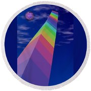 Into The Future - Rainbow Monolith And Planet Round Beach Towel