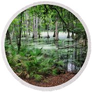 Into The Green Swamp Round Beach Towel
