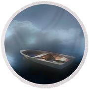 Into The Mist Morning Inspiration Round Beach Towel