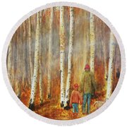 Into The Misty Autmun Woods Round Beach Towel