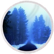 Into The Misty Unknown Round Beach Towel