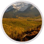 Into The Mountains Round Beach Towel