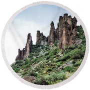 Into The Past Round Beach Towel