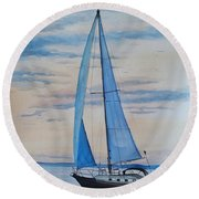 Into The Setting Sun Round Beach Towel