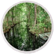 Into The Swamp Round Beach Towel