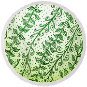 Into The Thick Of It, Green Round Beach Towel by Monique Faella