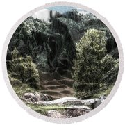 Into The Valley Round Beach Towel