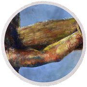 Into Your Hands Round Beach Towel