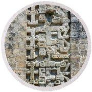Intricate Details Of Mayan Ruins Round Beach Towel
