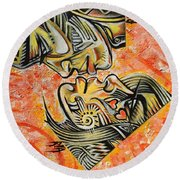 Intricate Intimacy Round Beach Towel