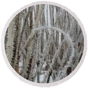 Intriguing Winter Frost Round Beach Towel