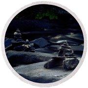 Inuksuk Stone Figures And River Round Beach Towel