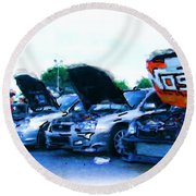 Invasion Of The Import Cars Round Beach Towel