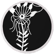 Inverted Small Flower Round Beach Towel
