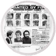 Investigator's Copy - Ted Bundy Wanted Document  1978 Round Beach Towel