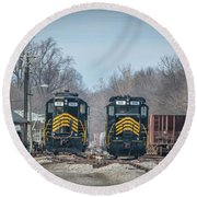 ioneer Lines PREX 912 and 806 at Evansville Indiana Round Beach Towel