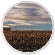Iowa Corn Fields In The Fall Round Beach Towel