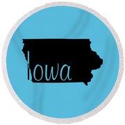 Iowa In Black Round Beach Towel